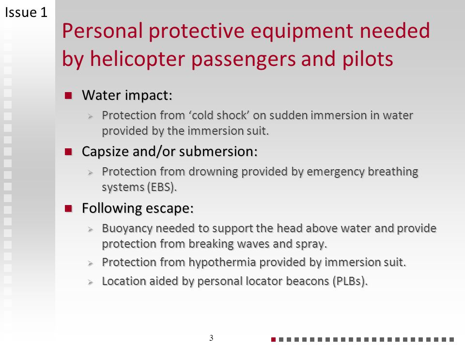 Issue 1 Personal protective equipment needed by helicopter passengers and pilots. Water impact: