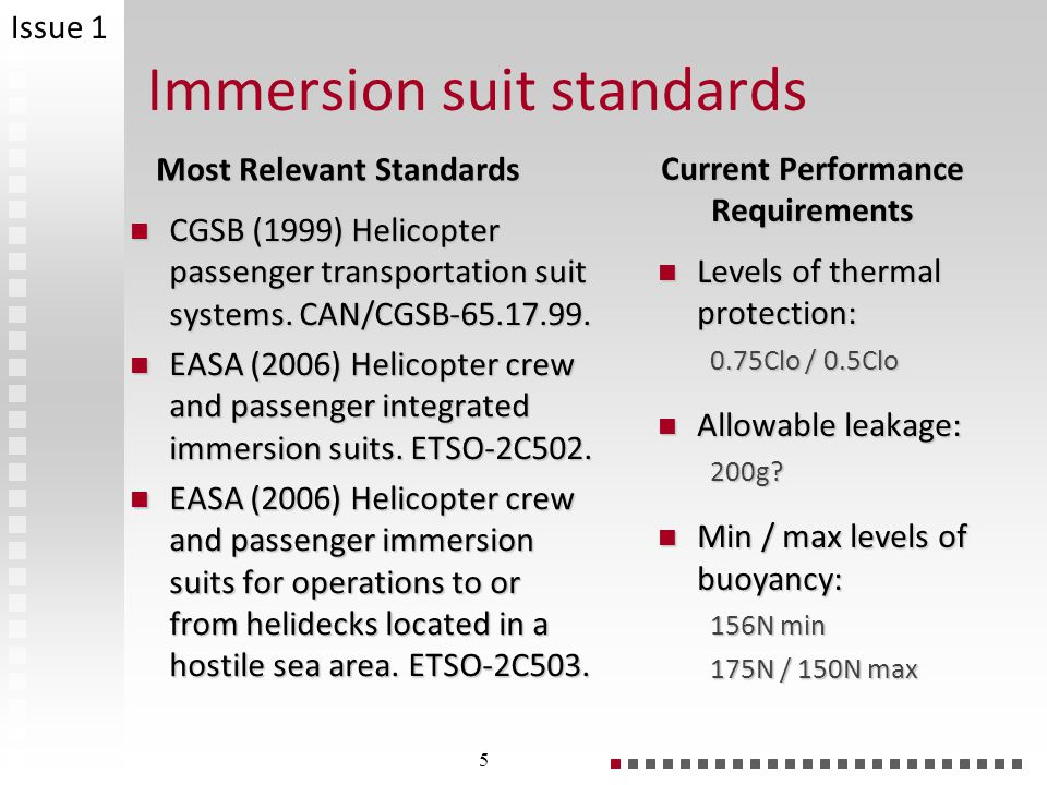 Immersion suit standards