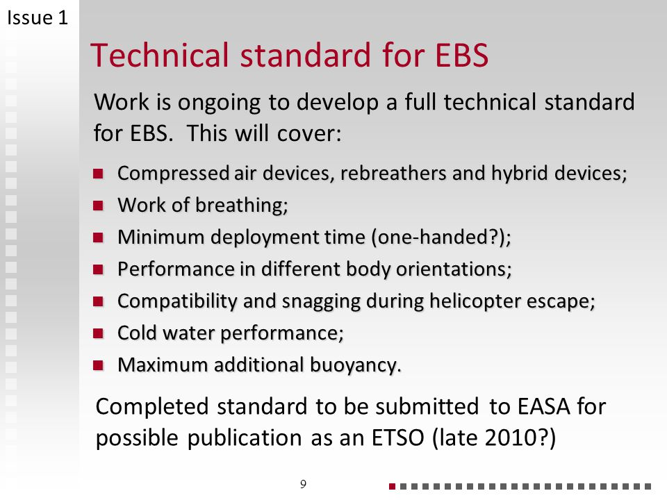 Technical standard for EBS