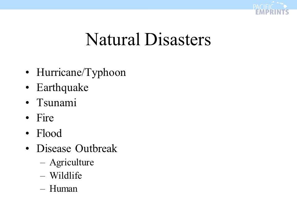 Natural Disasters Hurricane/Typhoon Earthquake Tsunami Fire Flood