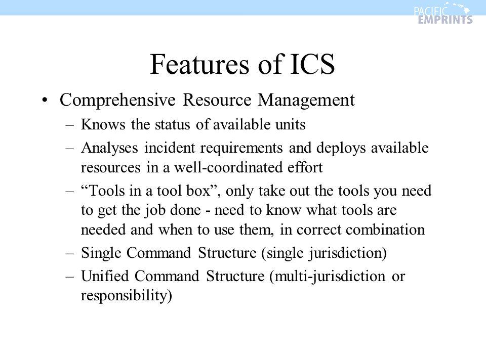 Features of ICS Comprehensive Resource Management
