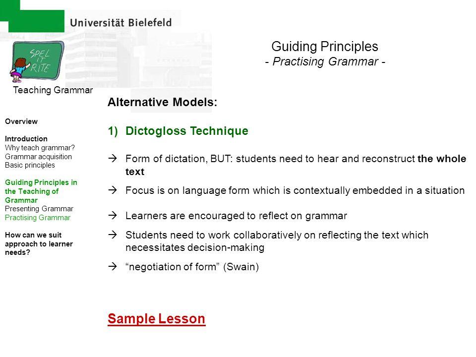 Guiding Principles Sample Lesson - Practising Grammar -
