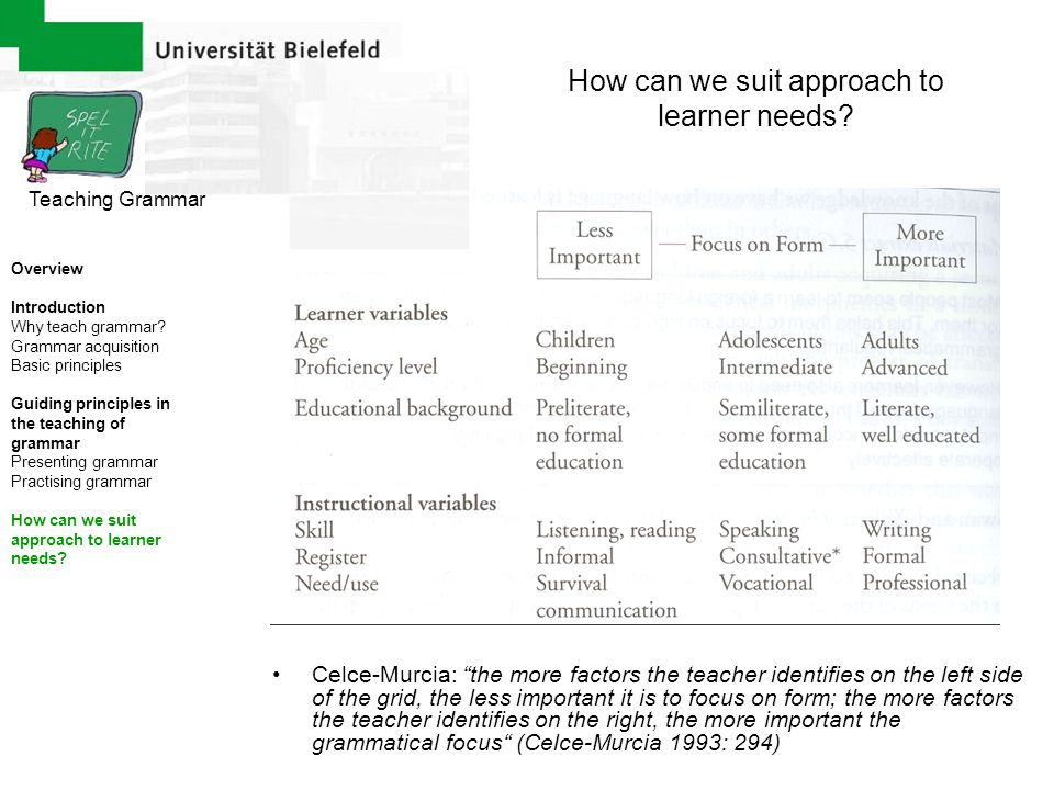 How can we suit approach to learner needs