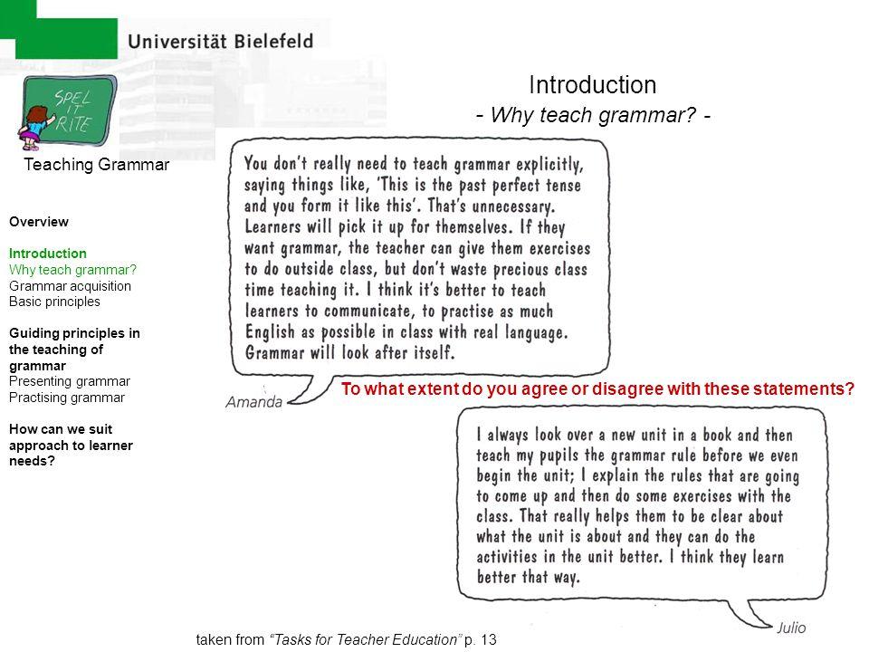 Introduction - Why teach grammar - Teaching Grammar