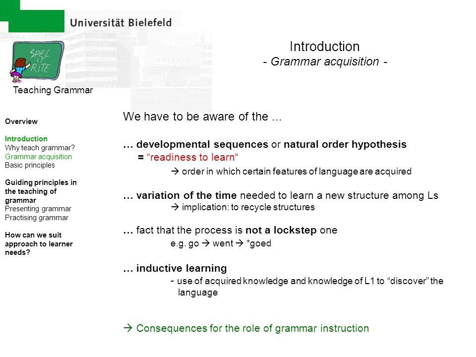 - Grammar acquisition -
