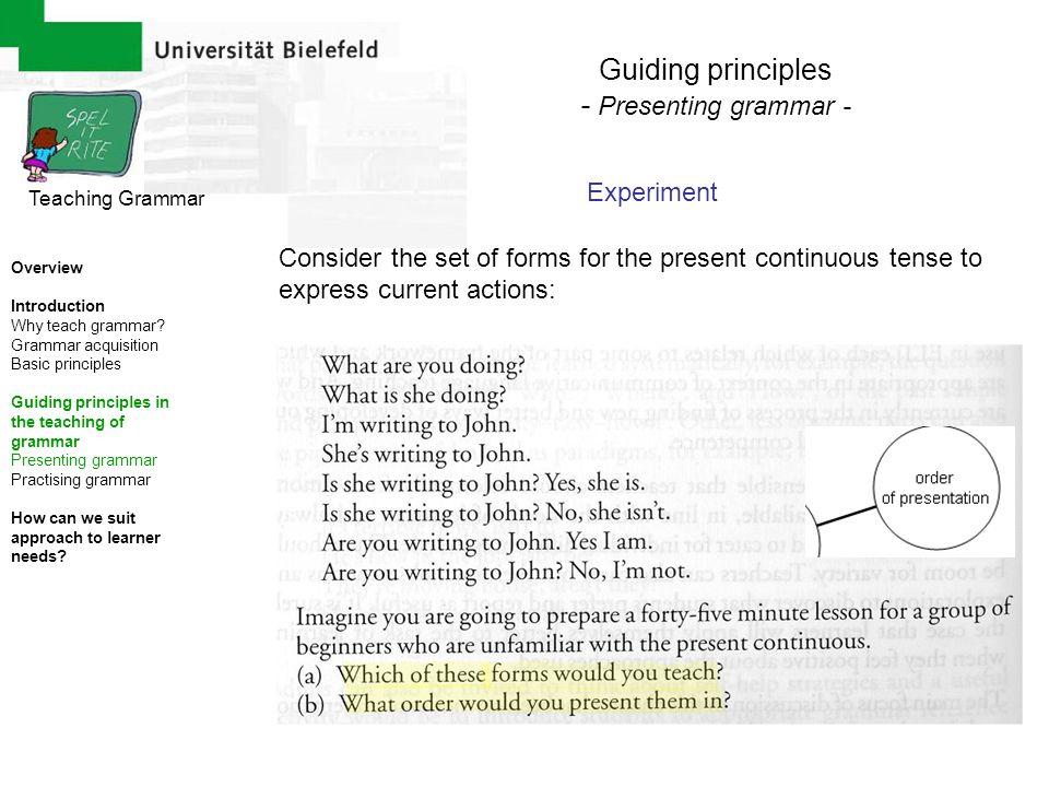 Guiding principles - Presenting grammar - Experiment