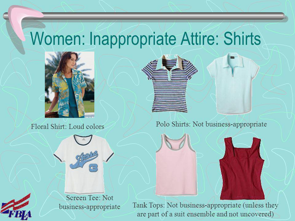 Women: Inappropriate Attire: Shirts
