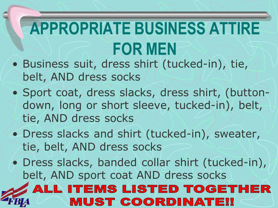 APPROPRIATE BUSINESS ATTIRE FOR MEN