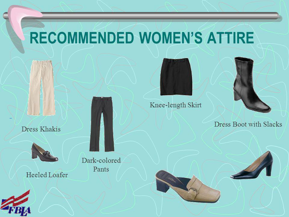RECOMMENDED WOMEN'S ATTIRE
