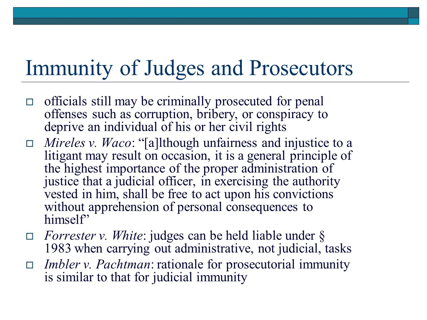 Immunity of Judges and Prosecutors