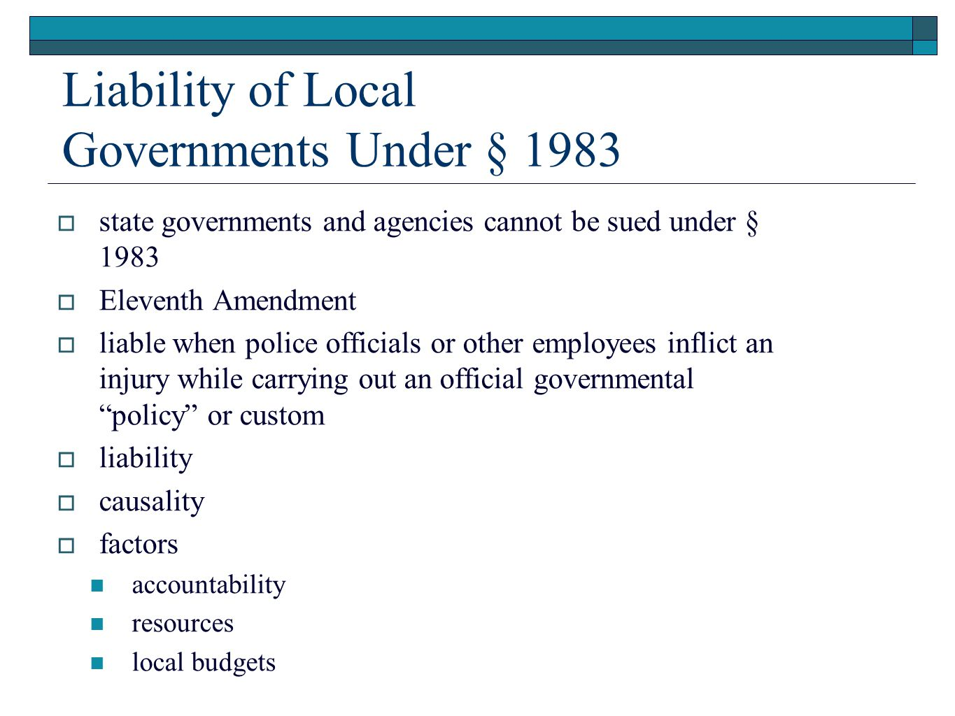 Liability of Local Governments Under § 1983