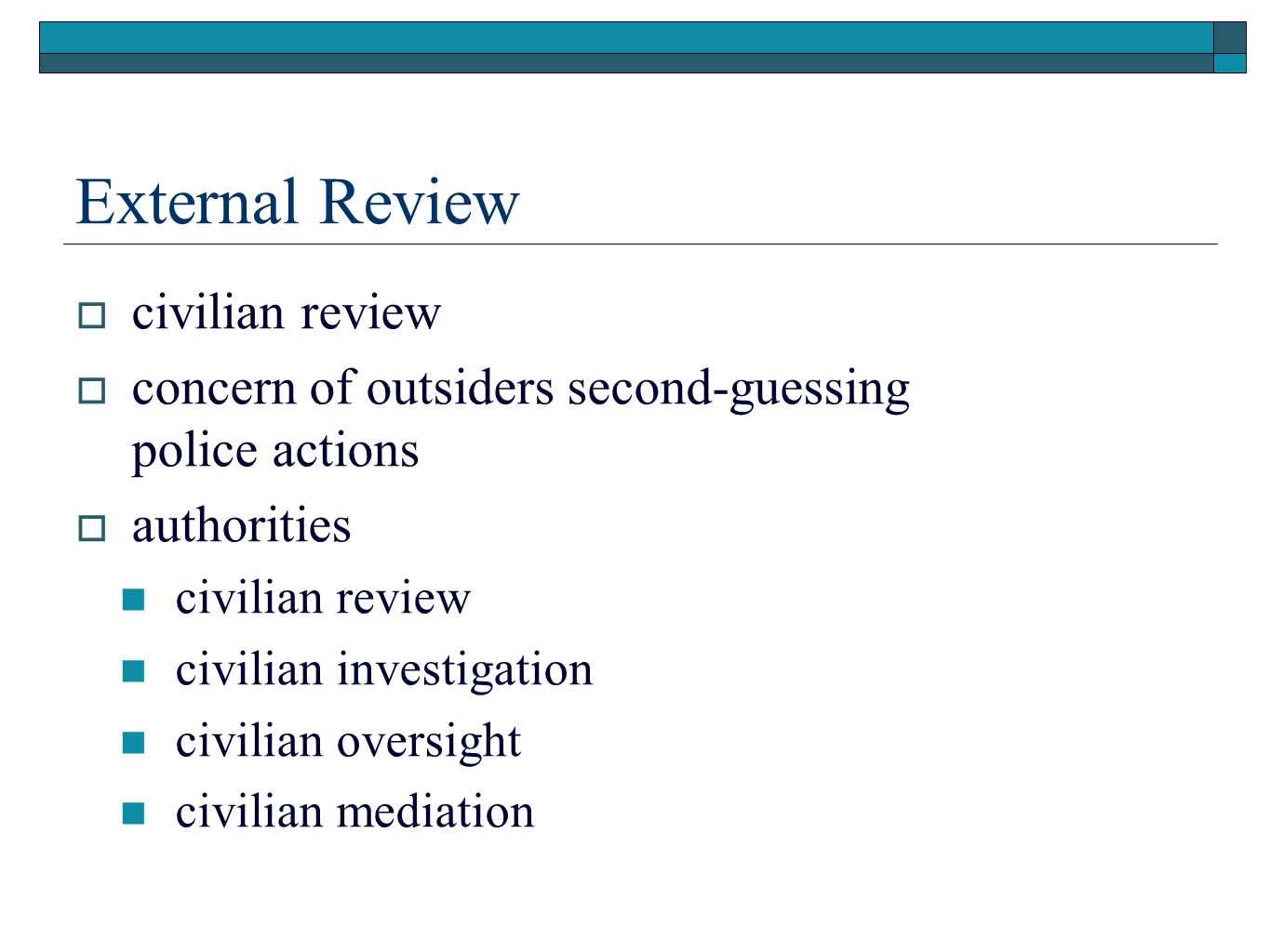 External Review civilian review