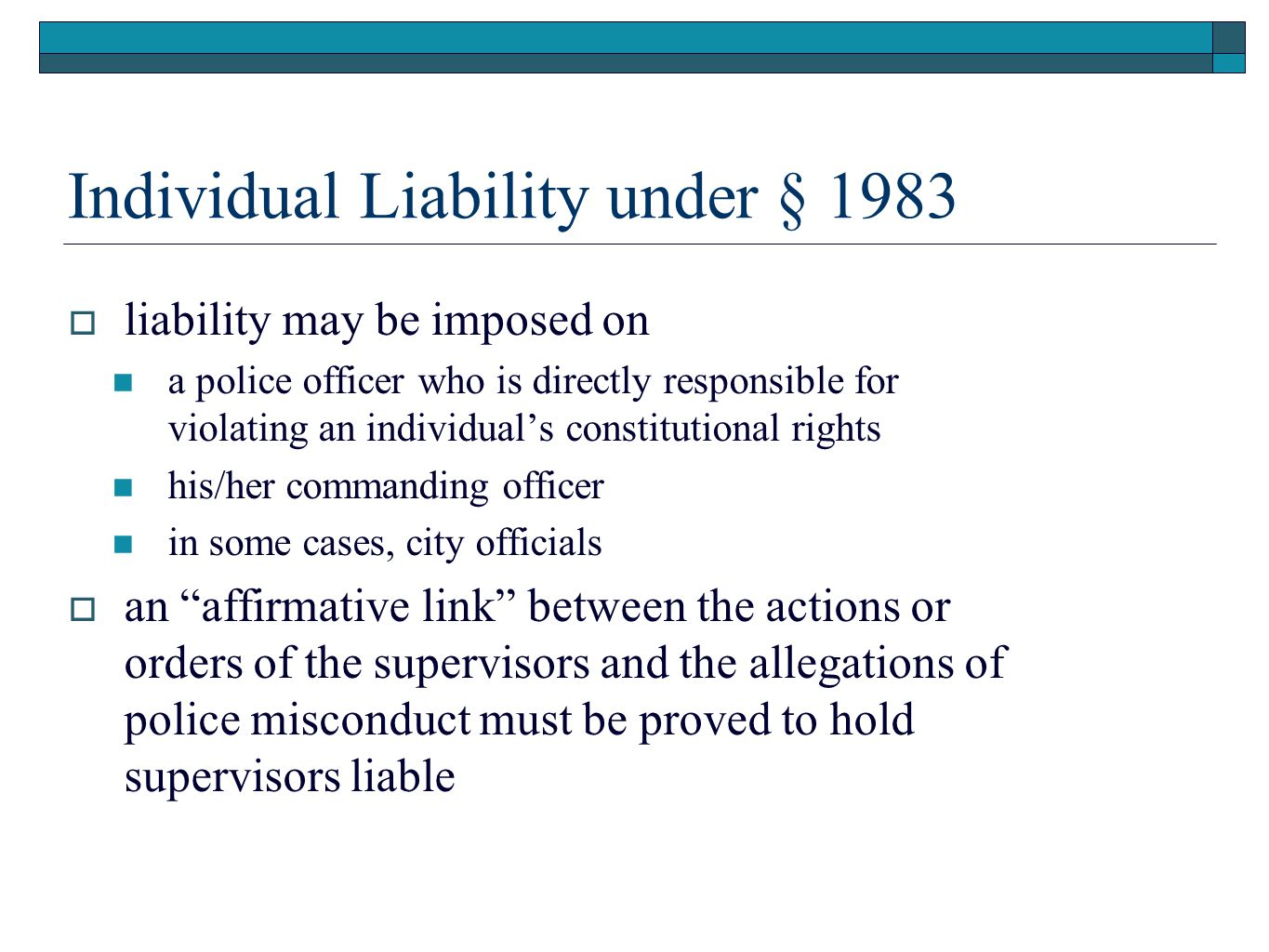 Individual Liability under § 1983