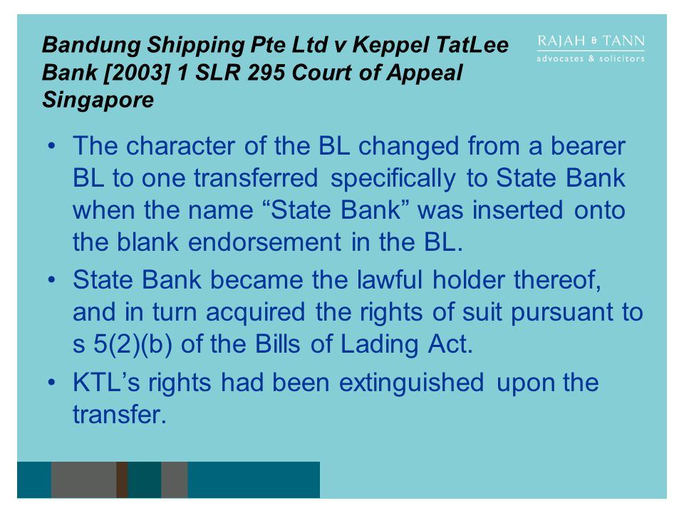 KTL's rights had been extinguished upon the transfer.