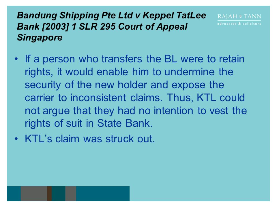 KTL's claim was struck out.