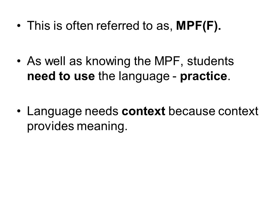 This is often referred to as, MPF(F).