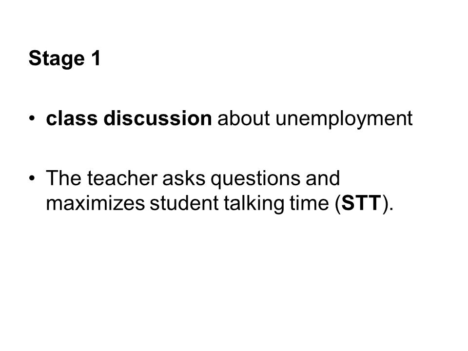 Stage 1 class discussion about unemployment.