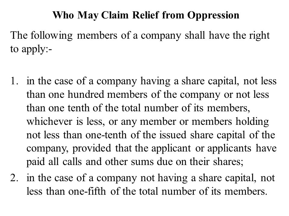 Who May Claim Relief from Oppression