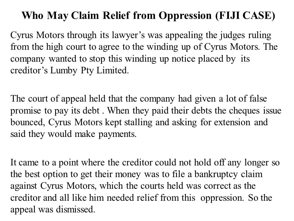 Who May Claim Relief from Oppression (FIJI CASE)