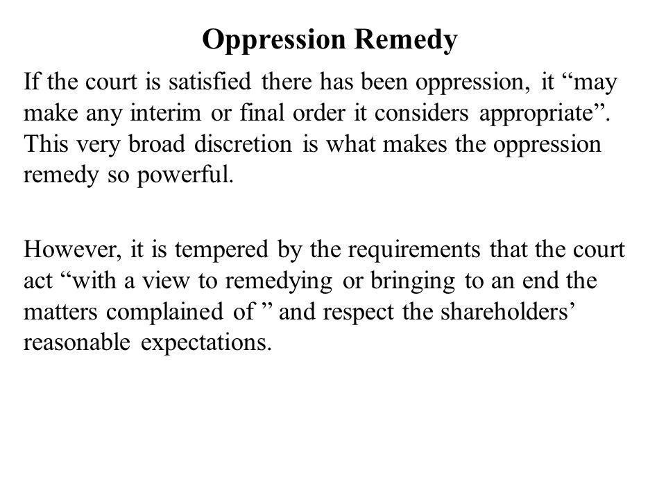Oppression Remedy