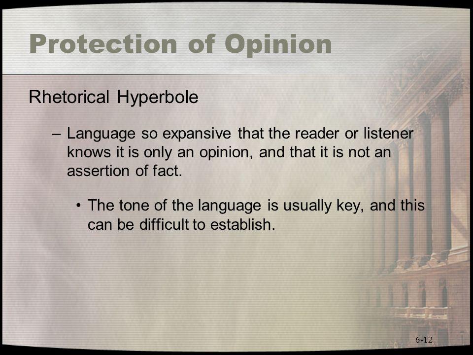 Protection of Opinion Rhetorical Hyperbole