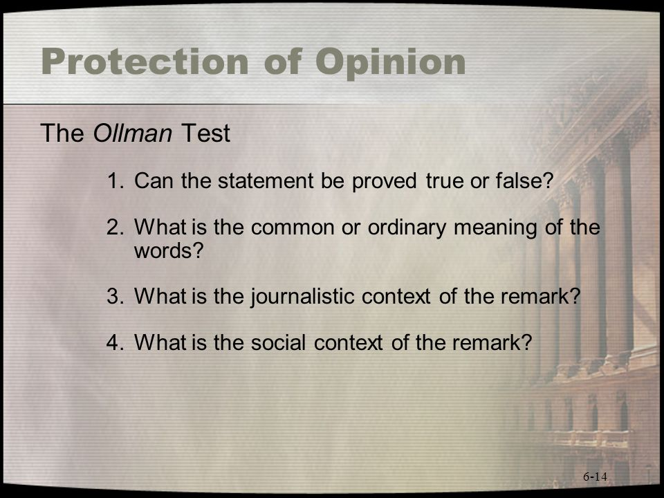 Protection of Opinion The Ollman Test