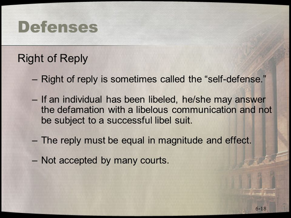 Defenses Right of Reply