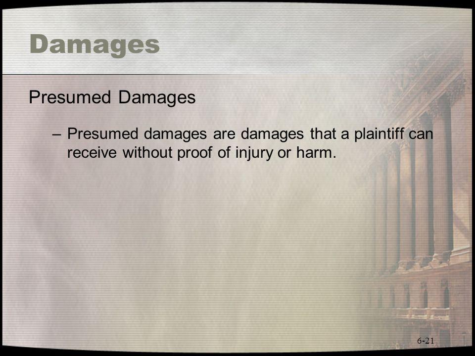 Damages Presumed Damages