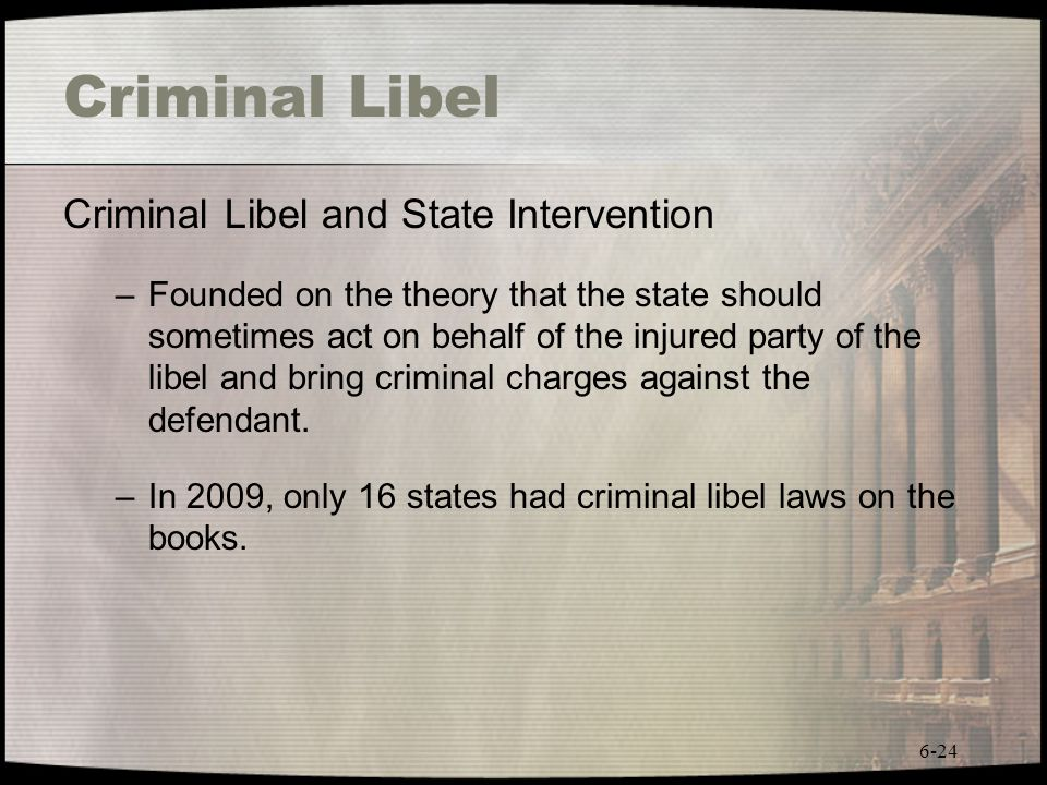 Criminal Libel Criminal Libel and State Intervention