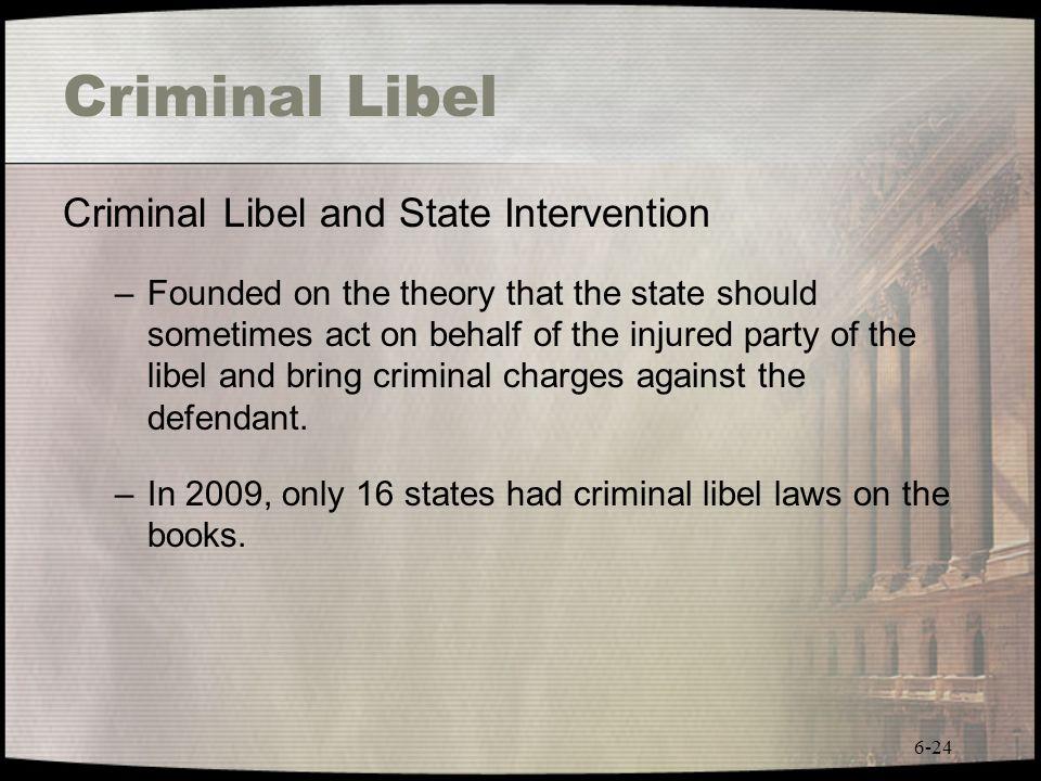 Criminal Libel Criminal Libel and State Intervention