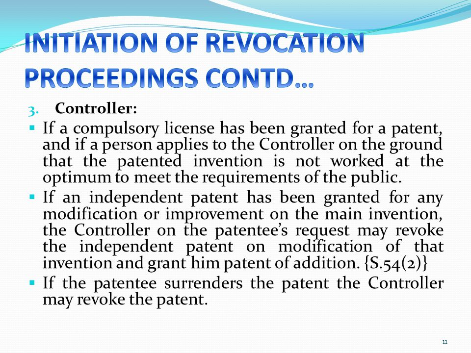 INITIATION OF REVOCATION PROCEEDINGS CONTD…