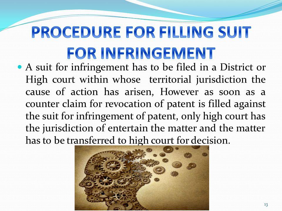PROCEDURE FOR FILLING SUIT FOR INFRINGEMENT