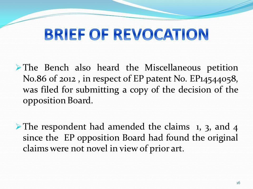 BRIEF OF REVOCATION