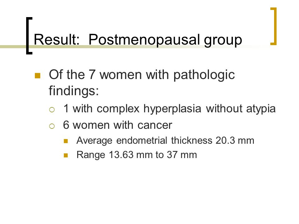 Result: Postmenopausal group