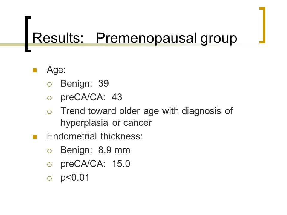 Results: Premenopausal group