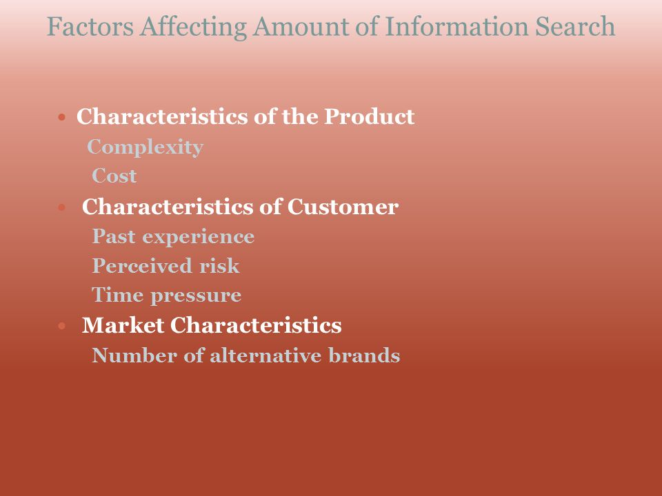 Factors Affecting Amount of Information Search