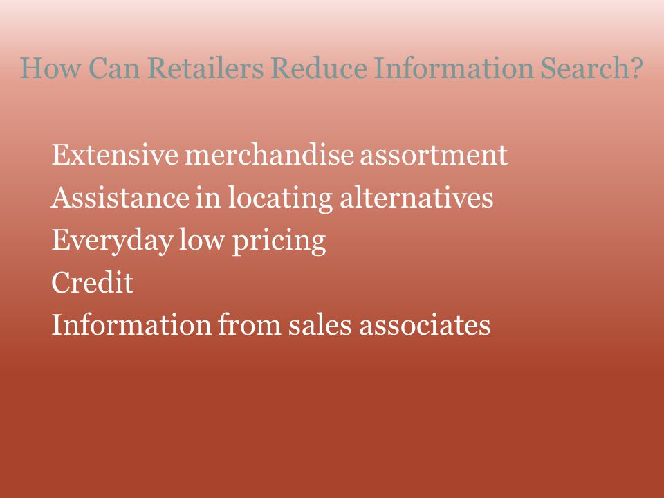 How Can Retailers Reduce Information Search