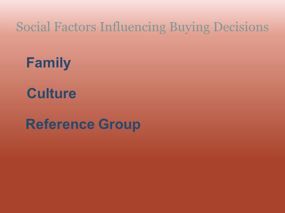 Social Factors Influencing Buying Decisions