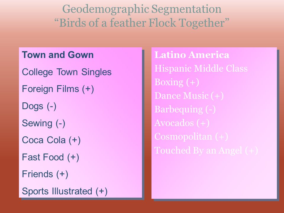 Geodemographic Segmentation Birds of a feather Flock Together