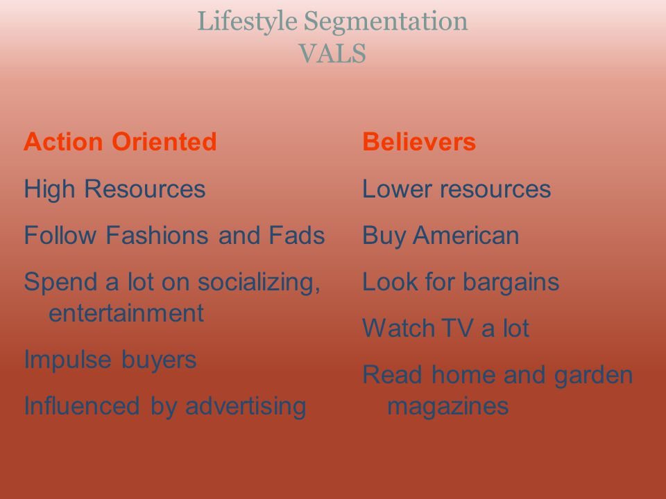 Lifestyle Segmentation VALS
