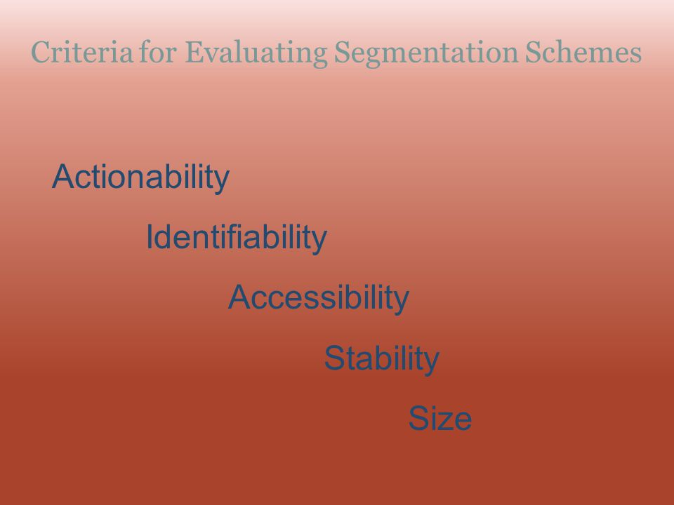 Criteria for Evaluating Segmentation Schemes