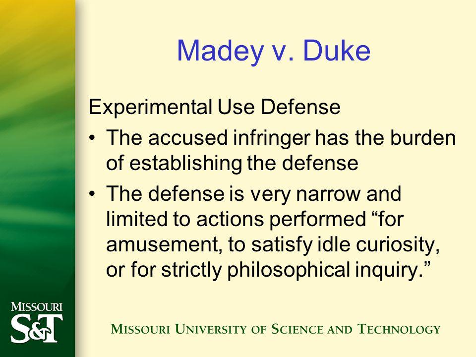 Madey v. Duke Experimental Use Defense