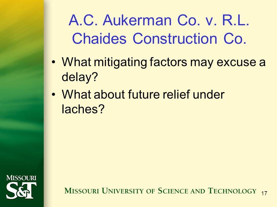 A.C. Aukerman Co. v. R.L. Chaides Construction Co.