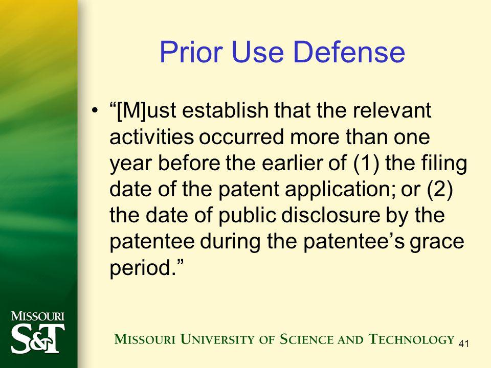 Prior Use Defense