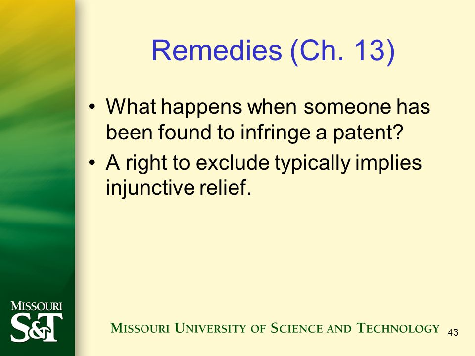 Remedies (Ch. 13) What happens when someone has been found to infringe a patent.