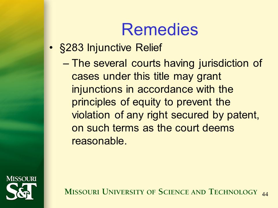 Remedies §283 Injunctive Relief