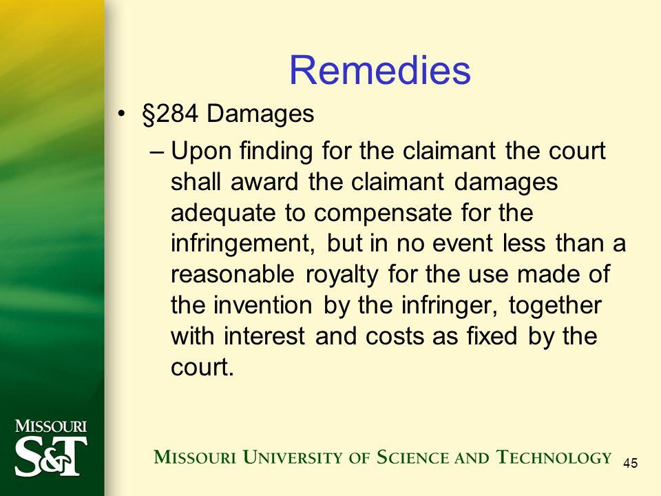 Remedies §284 Damages.