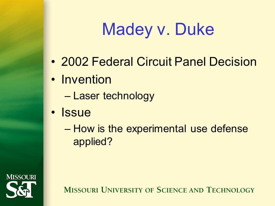 Madey v. Duke 2002 Federal Circuit Panel Decision Invention Issue