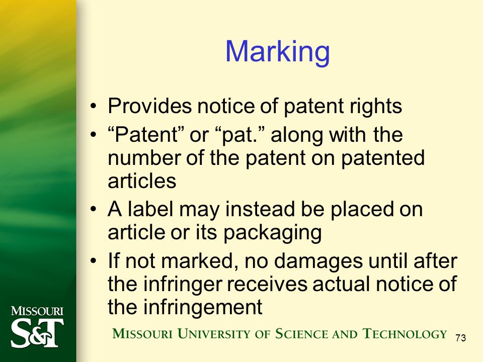 Marking Provides notice of patent rights