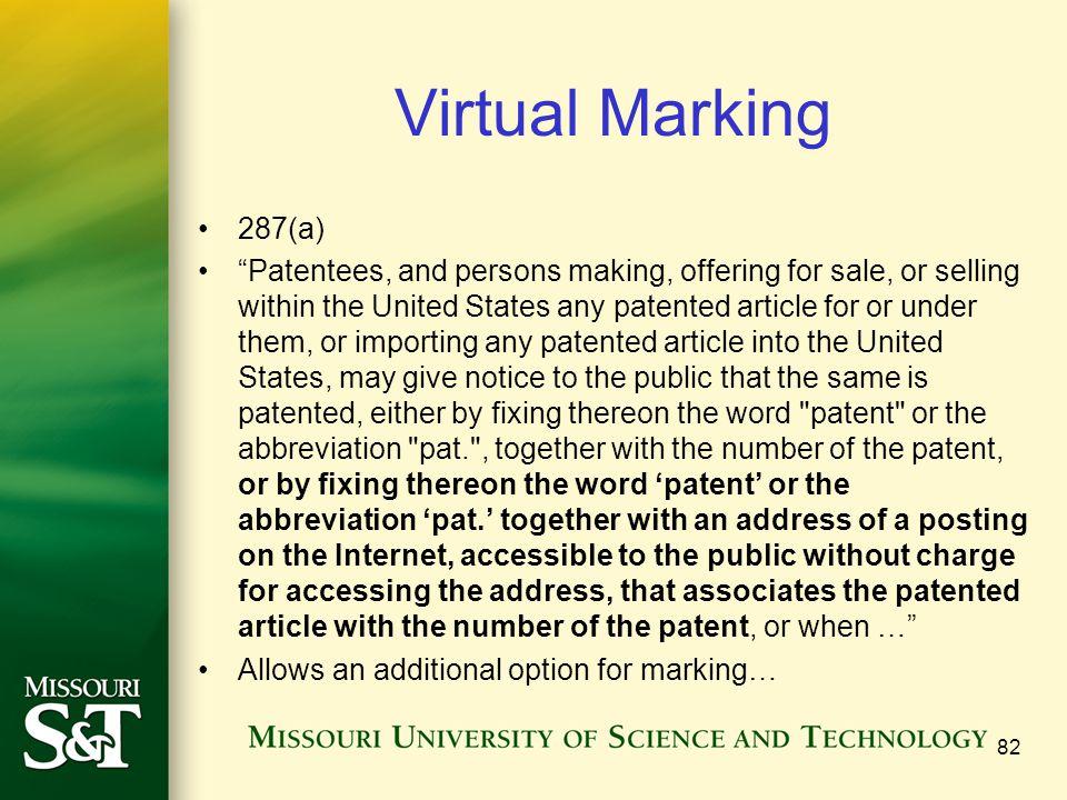 Virtual Marking 287(a)